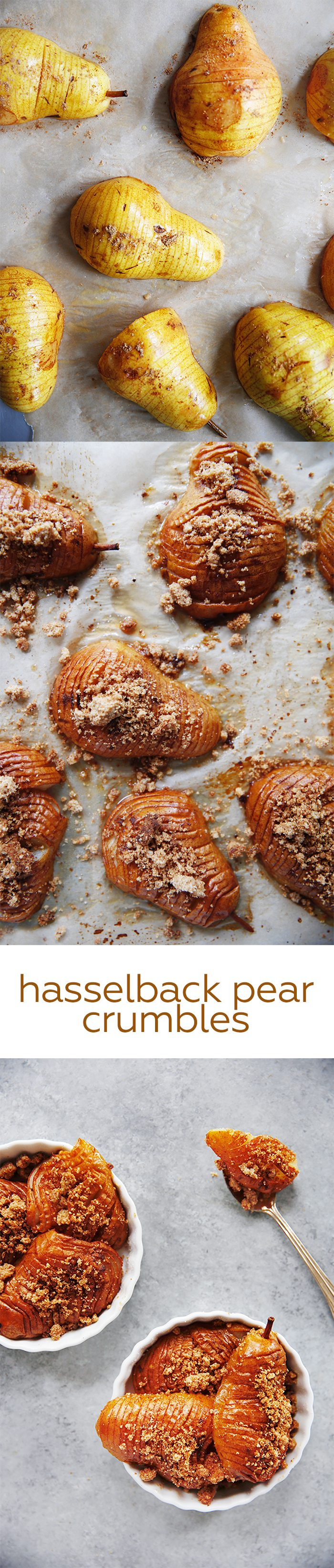 Hasselback Pear Crumbles