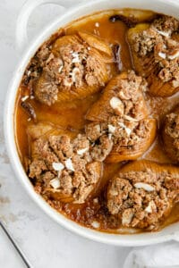 Hasselback pears in a dish.