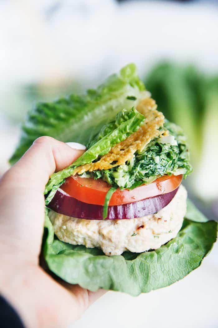 Baked Chicken Caesar Salad Burgers