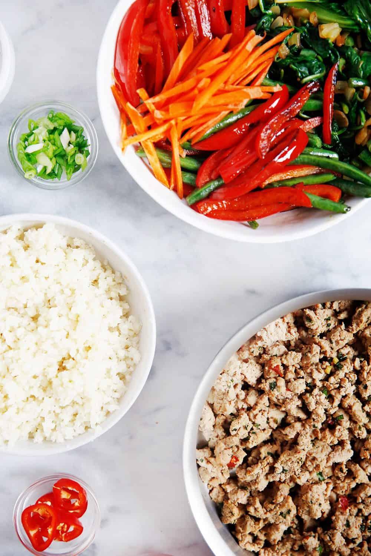 Ingredients for Thai Ground Turkey Bowl recipe
