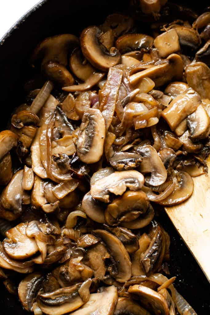 Cooked mushrooms and onions for a paleo mushroom burger.