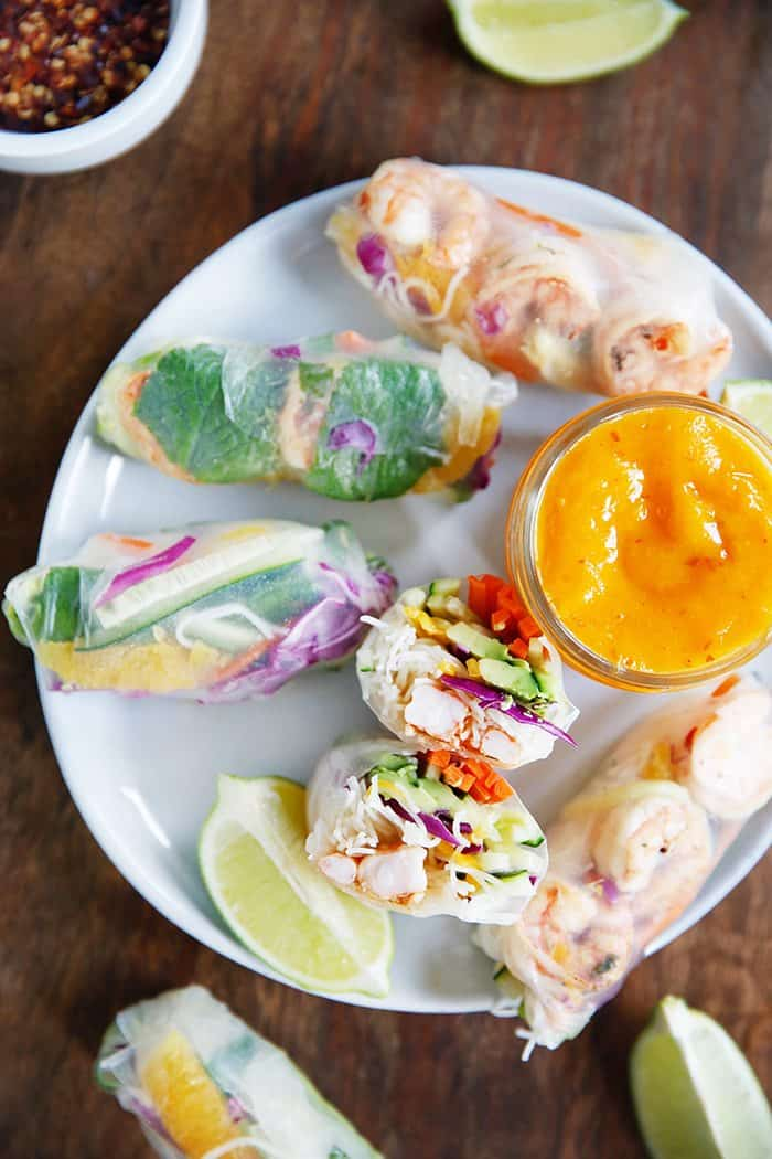 Spring Rolls With Mango Ginger Sauce