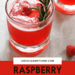 Raspberry Gin Cocktail with a rosemary garnish.