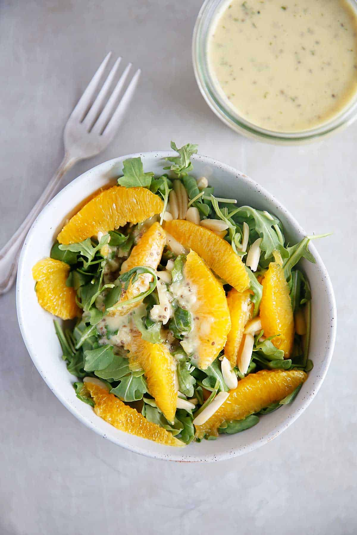 Arugula Salad with Mint Chia Dressing