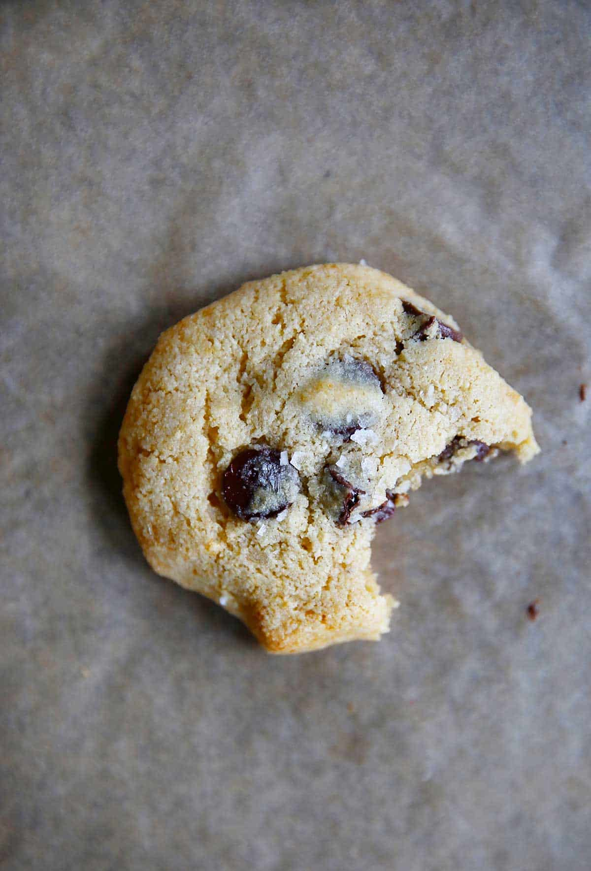 bite shot of honey chocolate chip cookies paleo