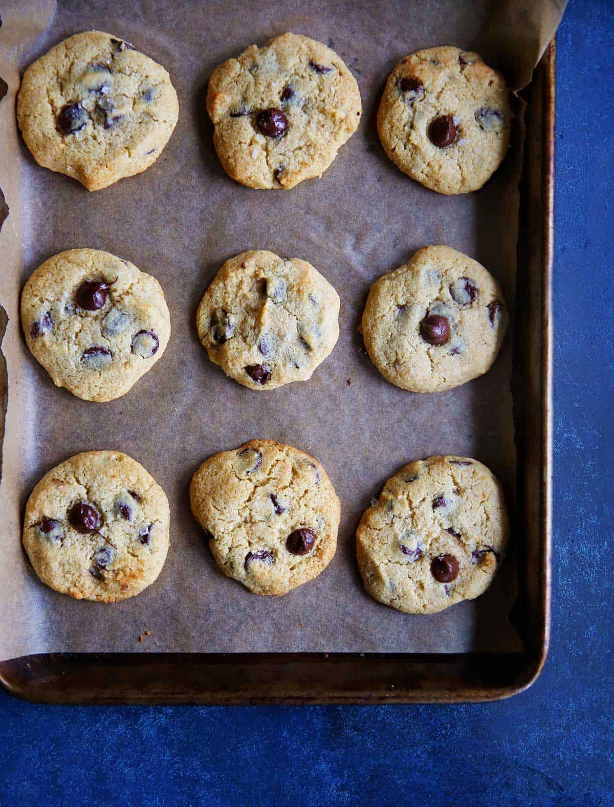 paleo almond flour cookies on a baking tray