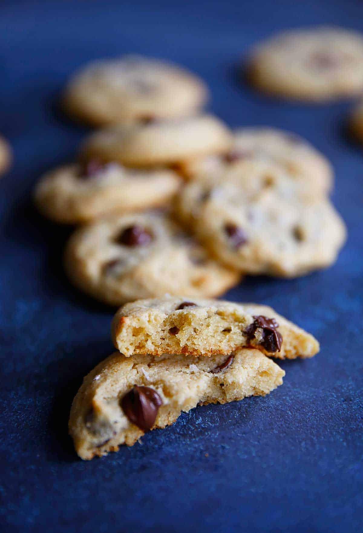 Close up of paleo choc chip cookies