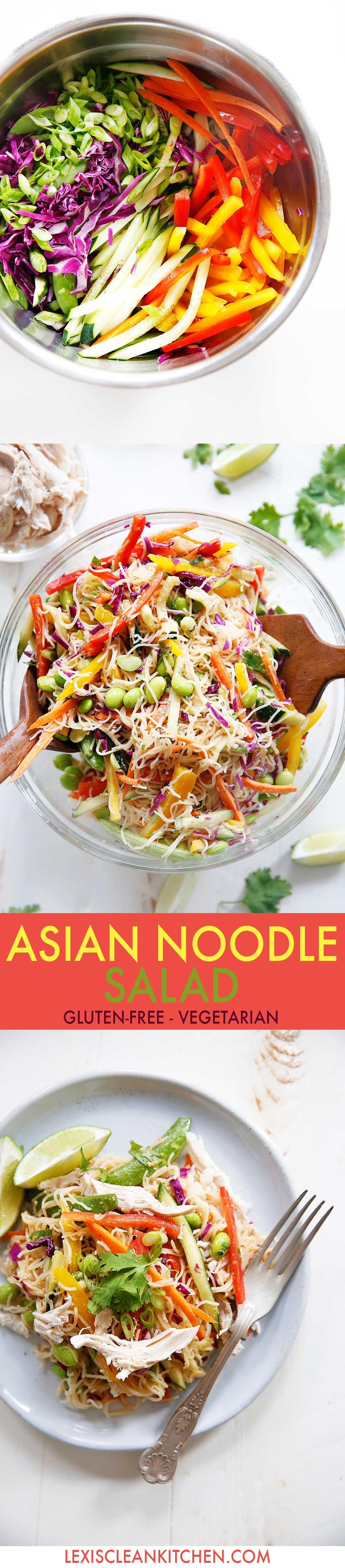 Gluten Free Cold Asian Noodle Salad {Gluten-free, no added sugar, 30 minutes or less, vegetarian option}   Lexi's Clean Kitchen