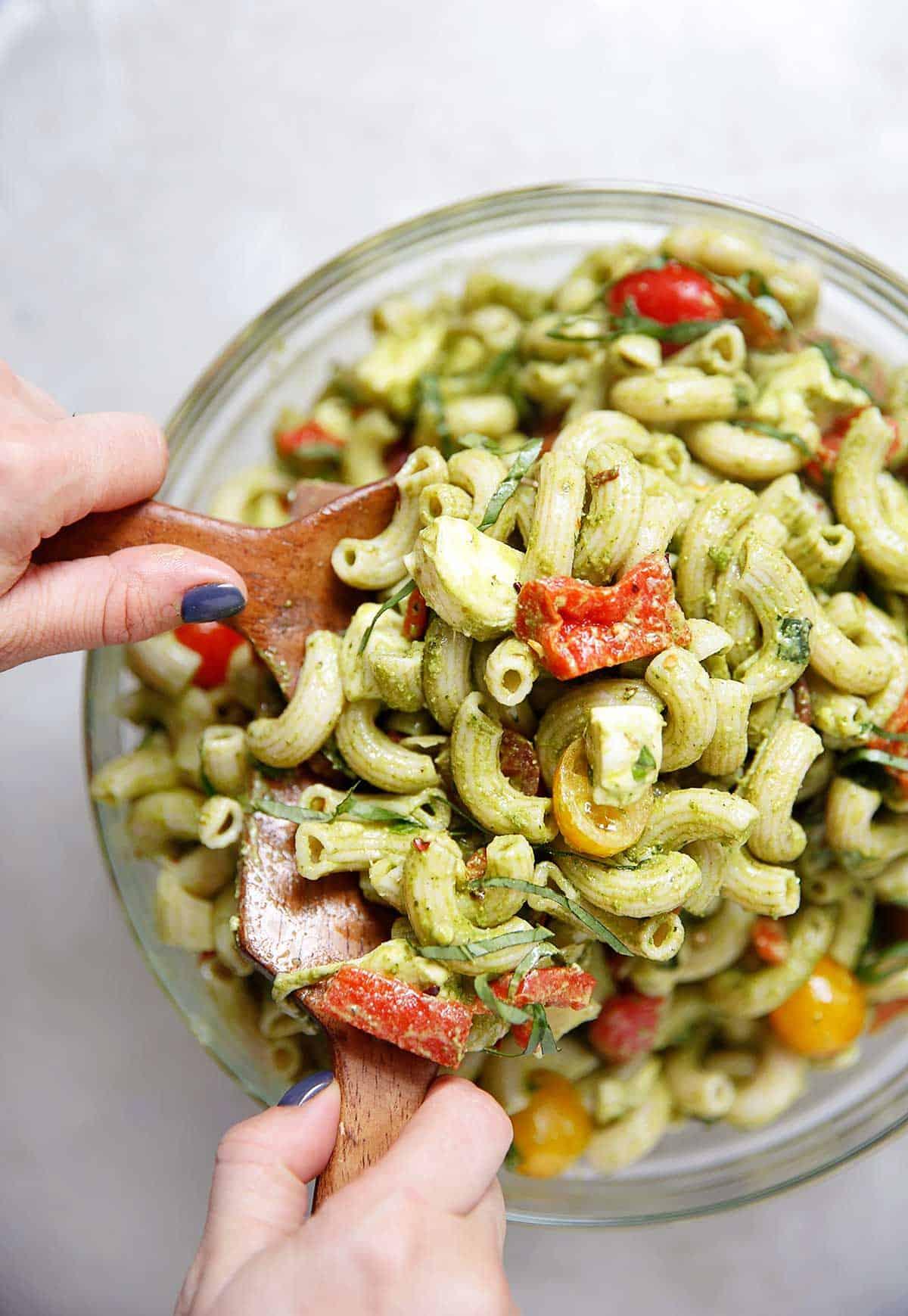 A bowl of pesto pasta.