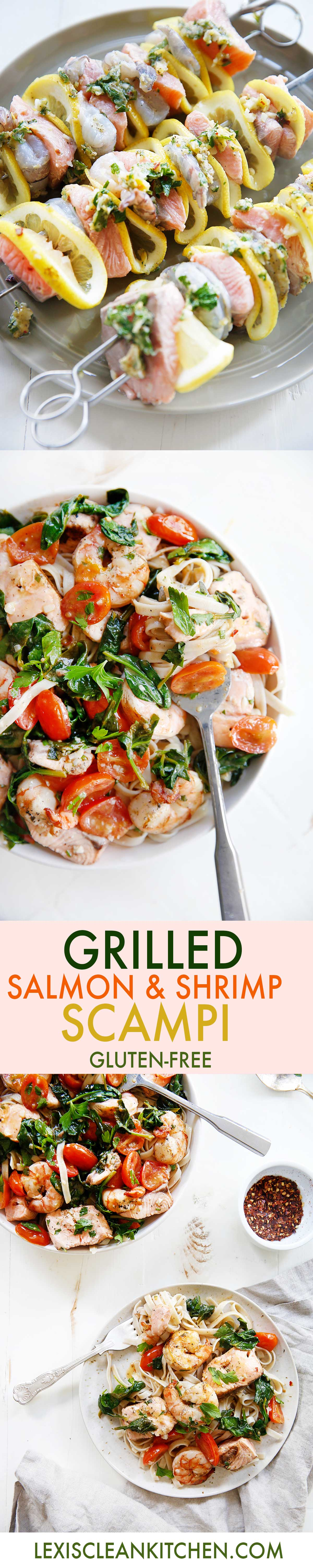 Grilled Shrimp Salmon Scampi {Gluten-free} | Lexi's Clean Kitchen
