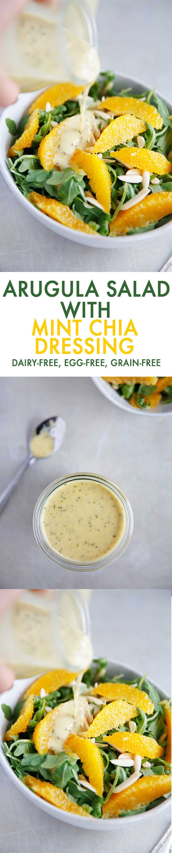 Arugula Salad with Mint Chia Dressing {Grain-free, dairy-free, egg-free} | Lexi's Clean Kitchen