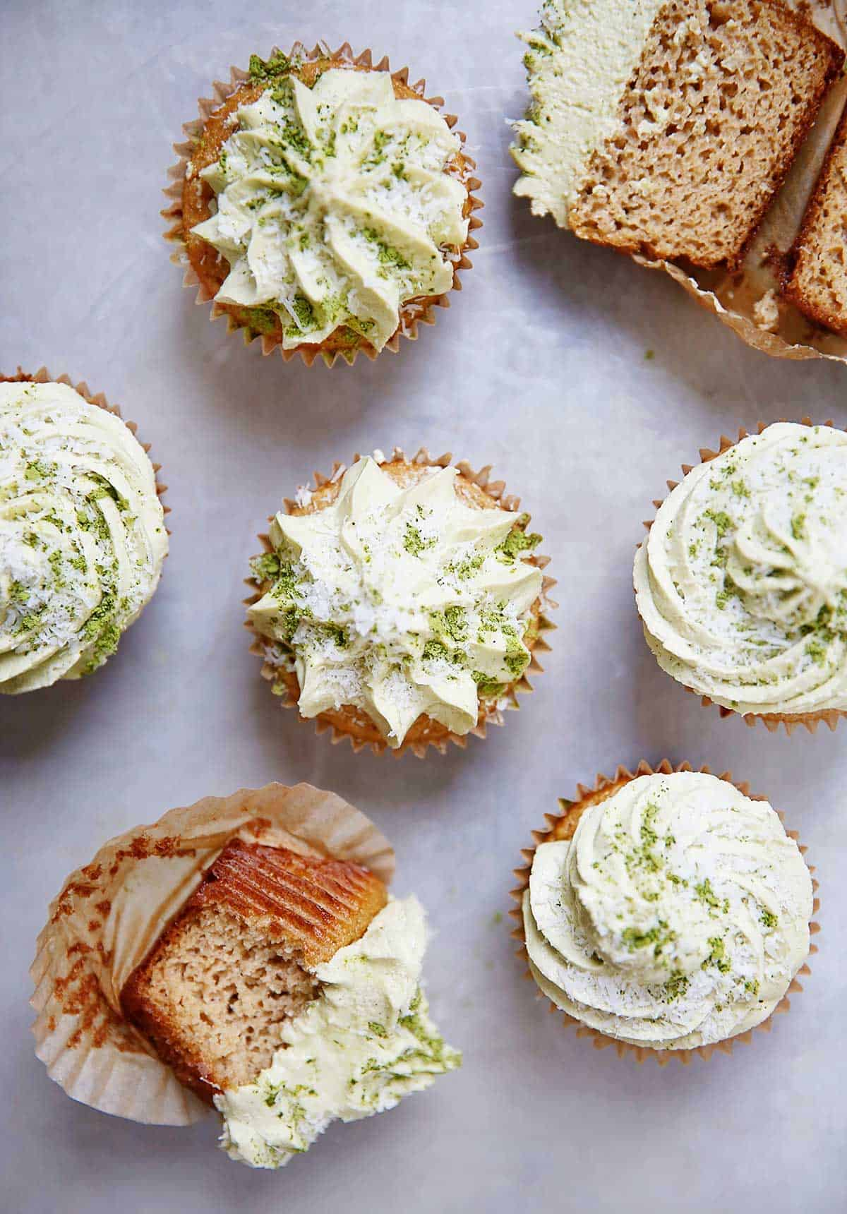 Paleo Cupcakes With Matcha Coconut Buttercream Frosting