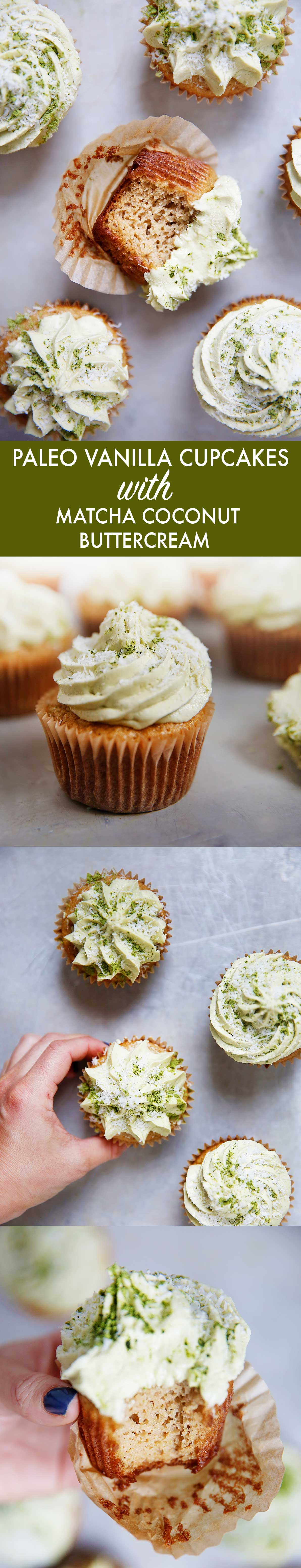 Paleo Cupcakes With Matcha Coconut Buttercream Frosting - Lexi's Clean Kitchen