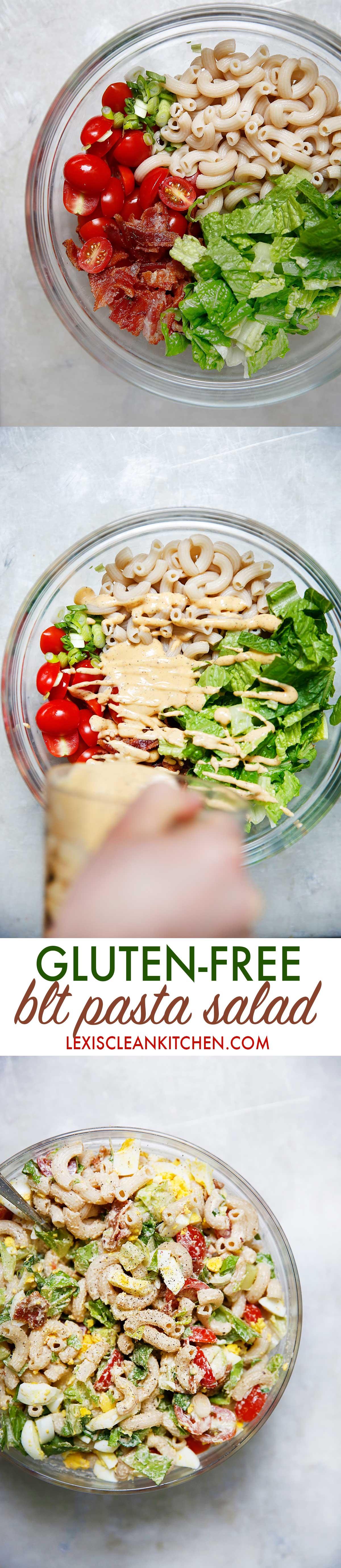BLT Pasta Salad {Gluten-free, nut-free} | Lexi's Clean Kitchen