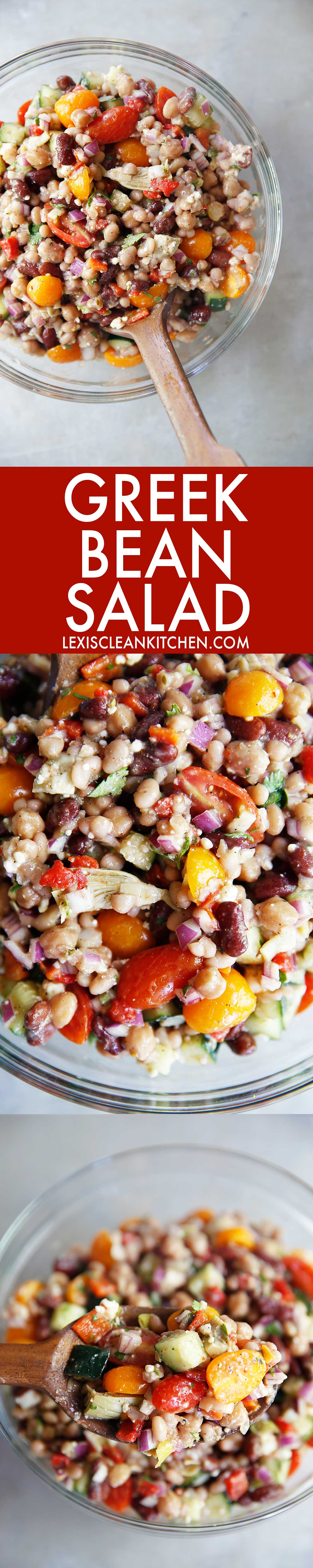 Greek Three Bean Salad (gluten-free & vegetarian) | Lexi's Clean Kitchen