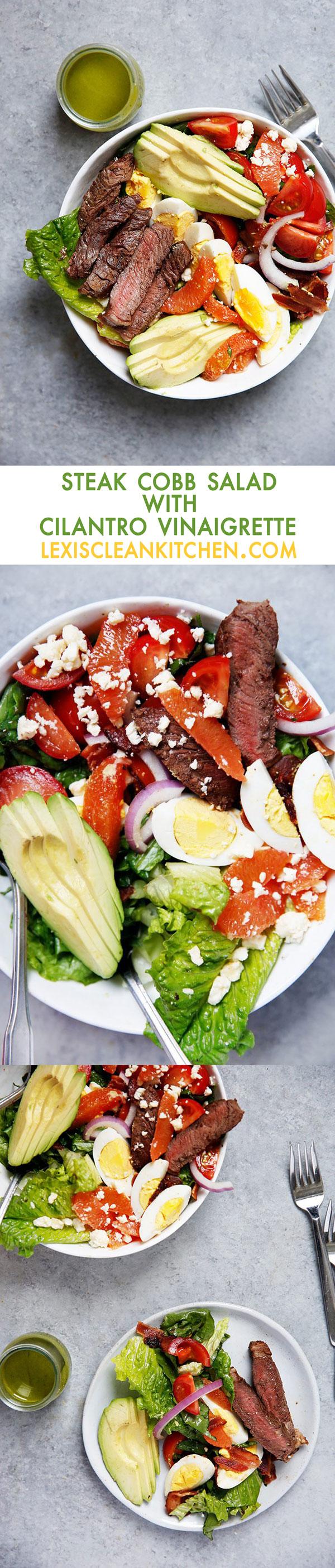 Steak Cobb Salad with Cilantro Vinaigrette {30 minutes or less, paleo friendly, gluten-free} | Lexi's Clean Kitchen