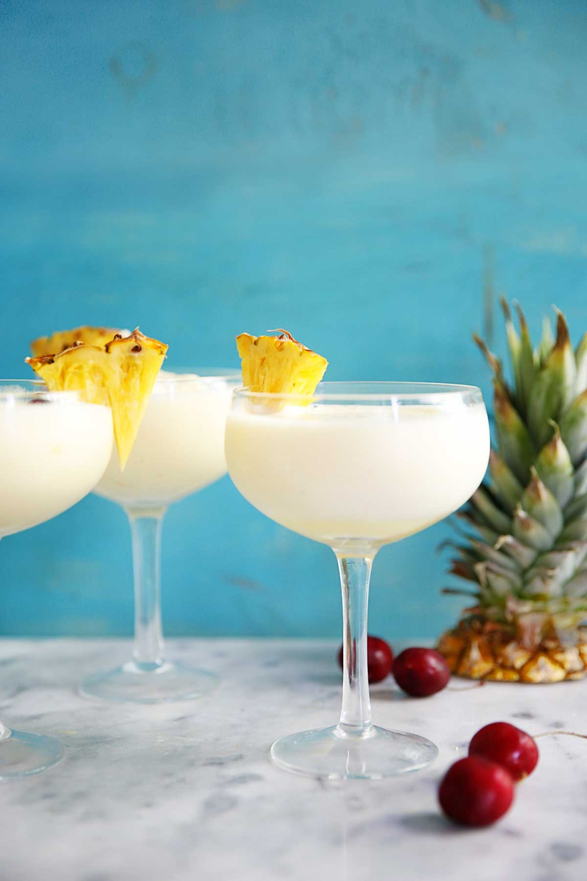 Healthy Pina colada recipe in glasses.