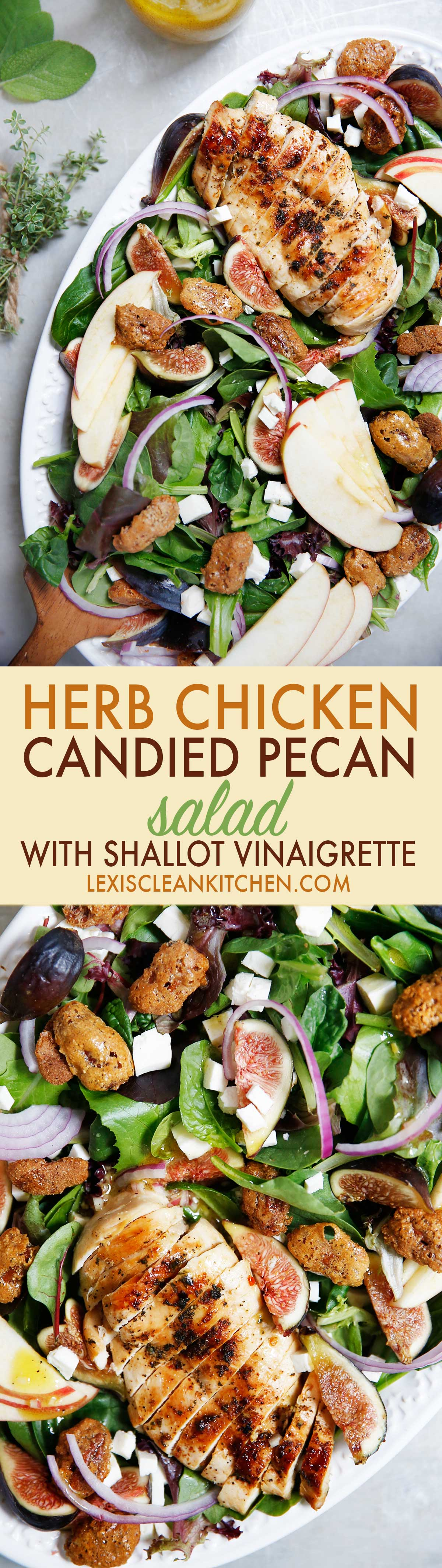 Herb Chicken Candied-Pecan Salad | Lexi's Clean Kitchen