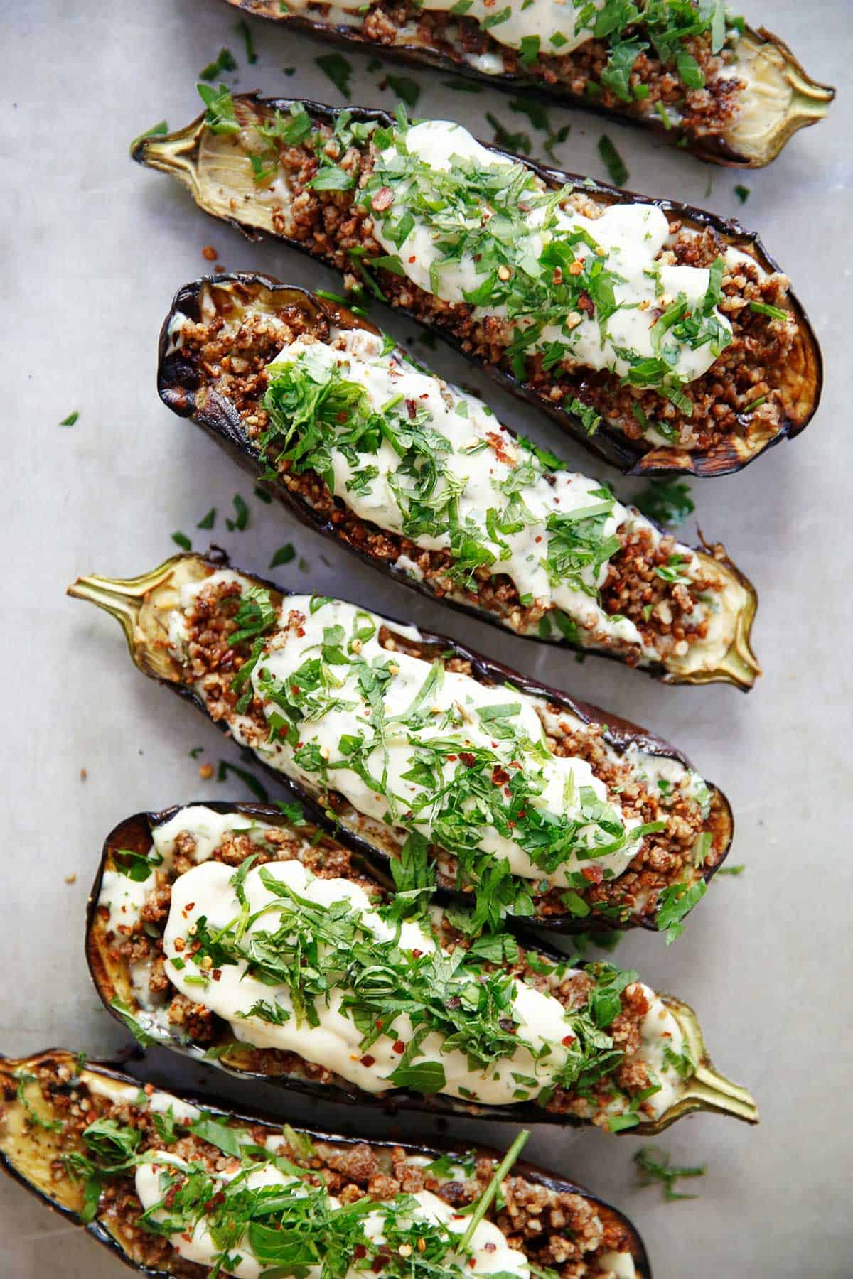 Loaded Grilled Eggplant Creamy Herb Sauce {Vegetarian, dairy-free, BBQ, Summer, gluten-free, paleo-friendly} | Lexi's Clean Kitchen