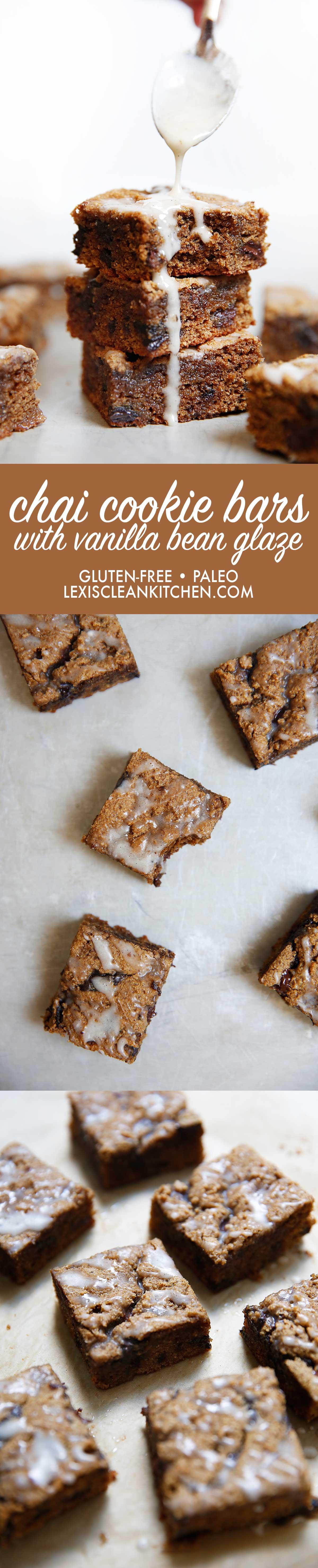 Chai Cookie Bars Vanilla Bean Glaze (gluten-free & paleo-friends) | Lexi's Clean Kitchen
