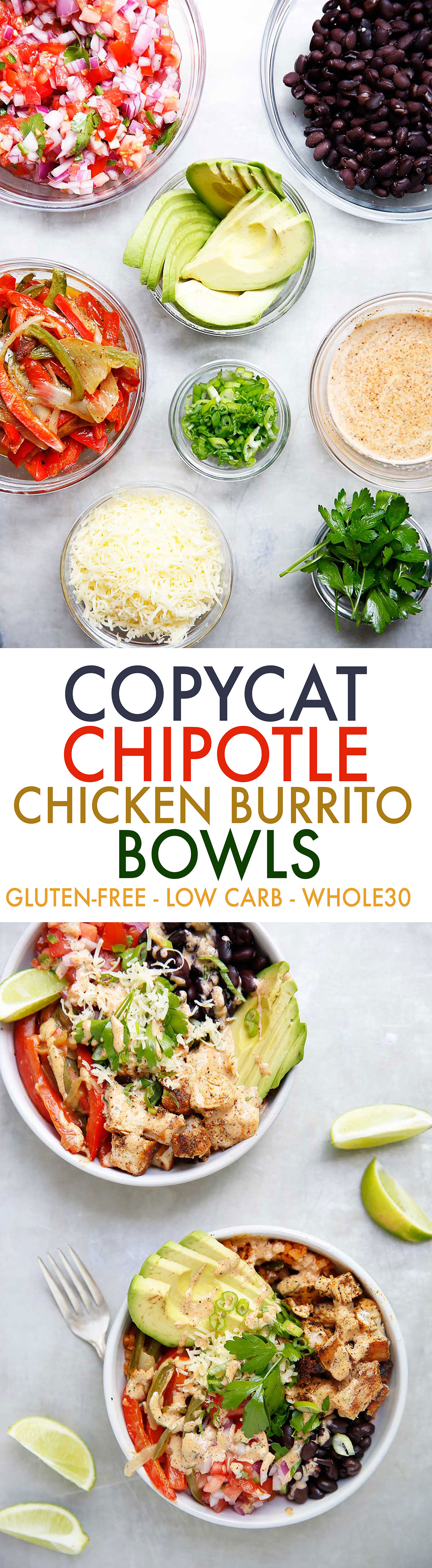 Chicken Burrito Bowl {Low-carb, grain-free, dairy-free}| Lexi's Clean Kitchen