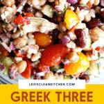 Pinterest image for greek bean salad.
