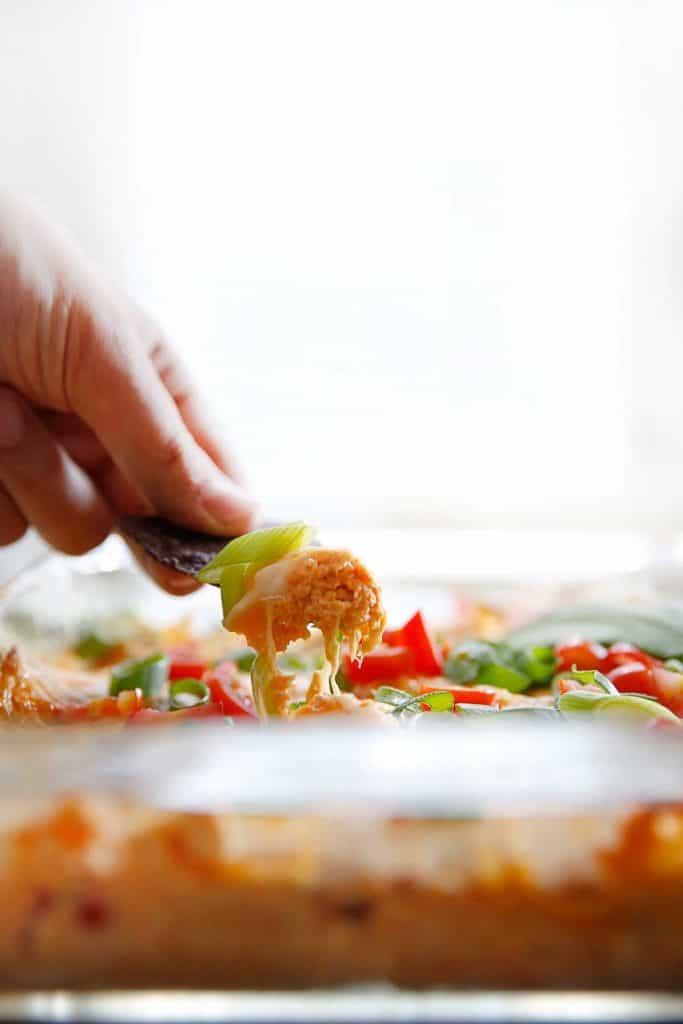 5-Ingredient Buffalo Chicken Baked Hummus Dip (gluten-free) - Lexi's Clean Kitchen