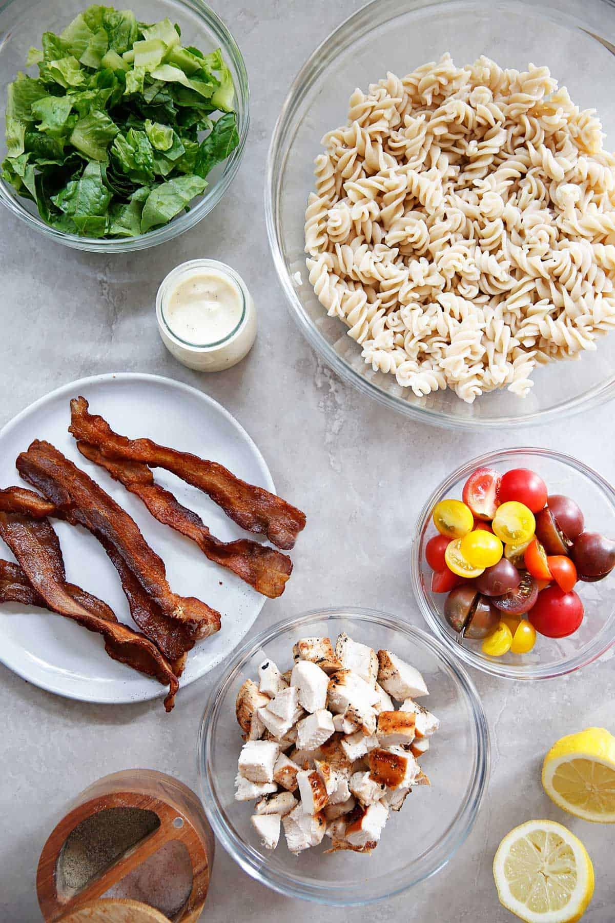 Ingredients for caesar pasta salad