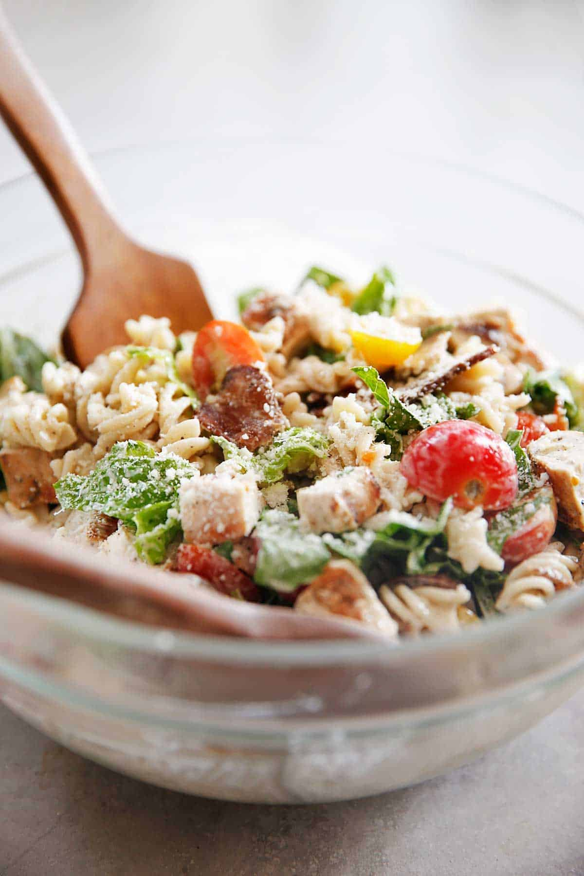 Chicken pasta salad with caesar dressing
