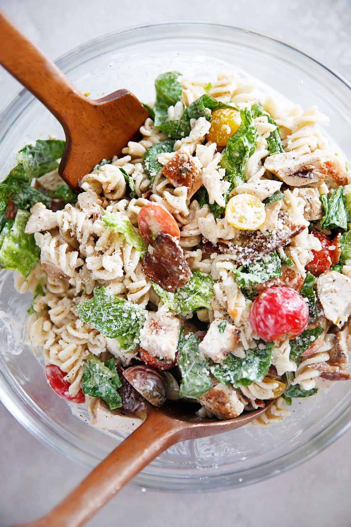 Summer ready Chicken Caesar Pasta Salad