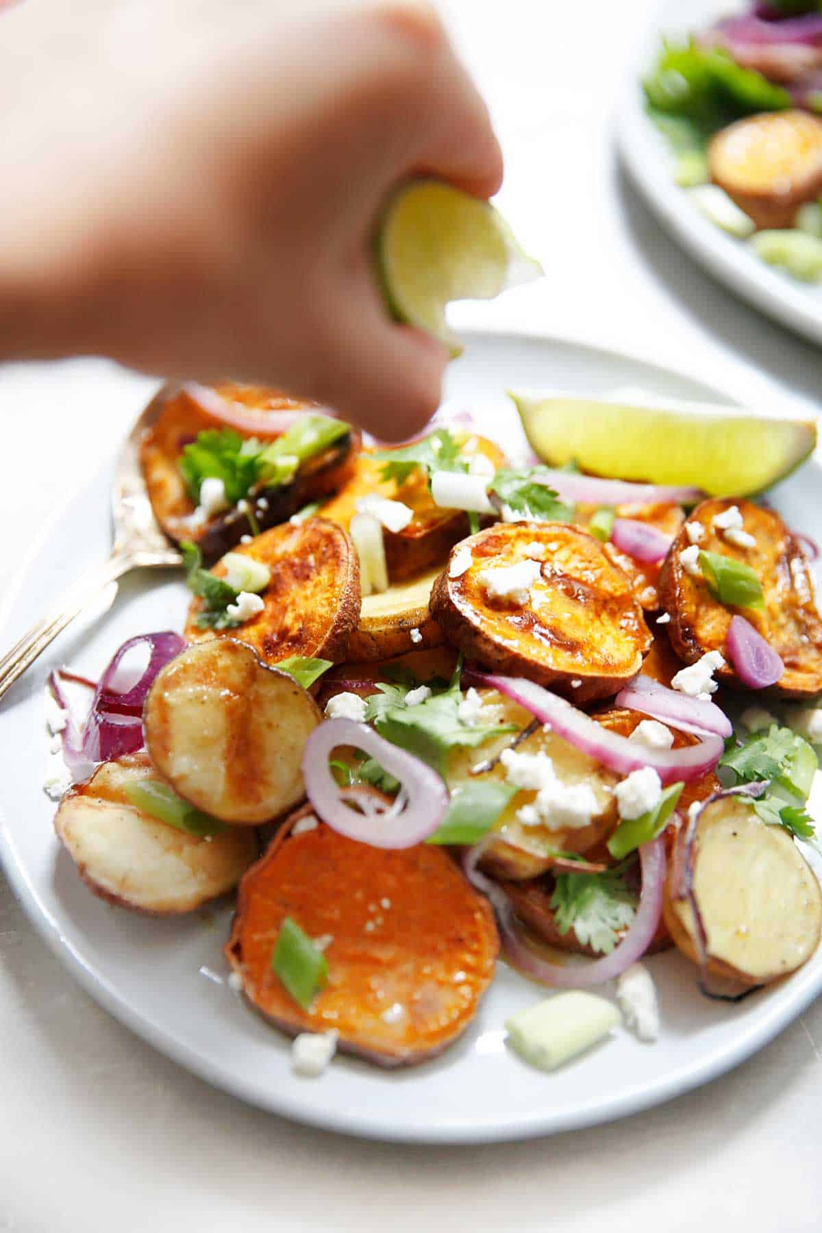 Grilled Sweet Potato Salad with Honey Mustard Vinaigrette (Vegetarian & Gluten-Free) - Lexi's Clean Kitchen