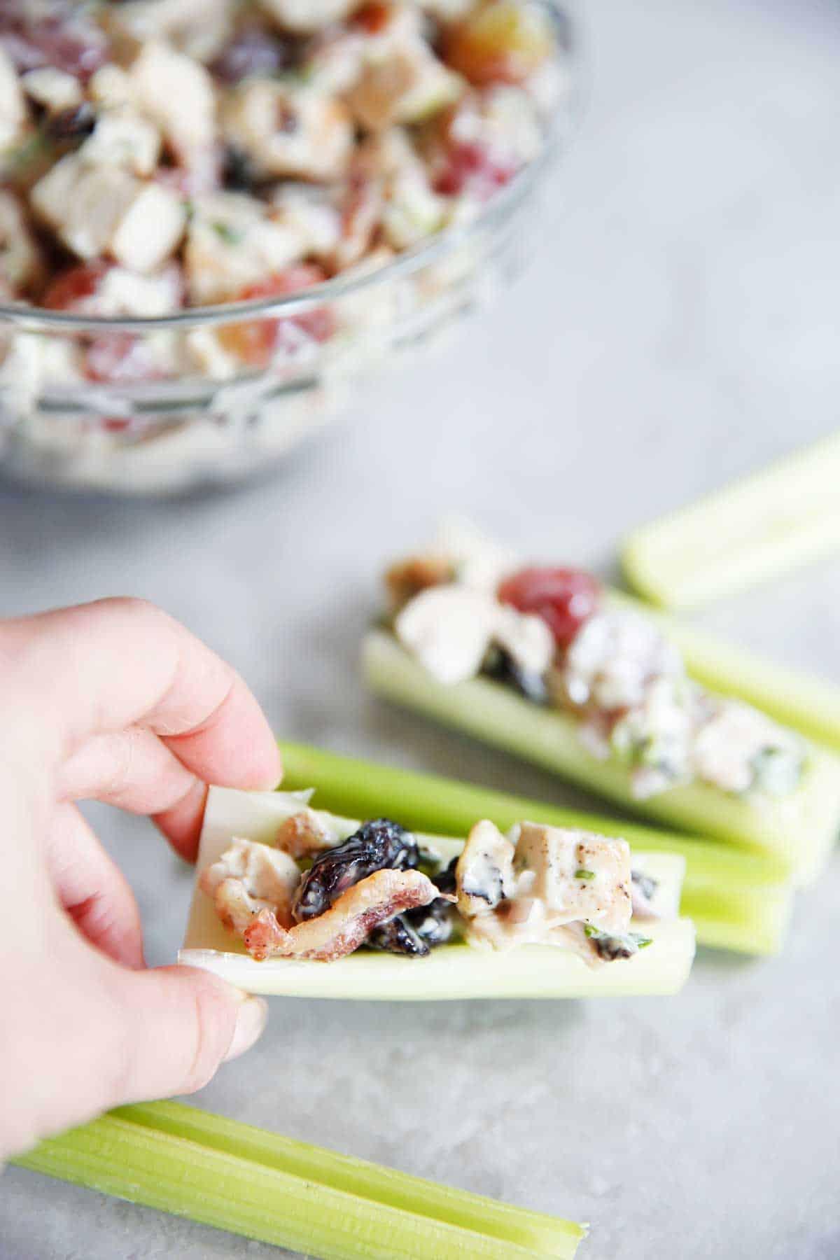 Loaded Chicken Salad Celery Logs | Lexi's Clean Kitchen