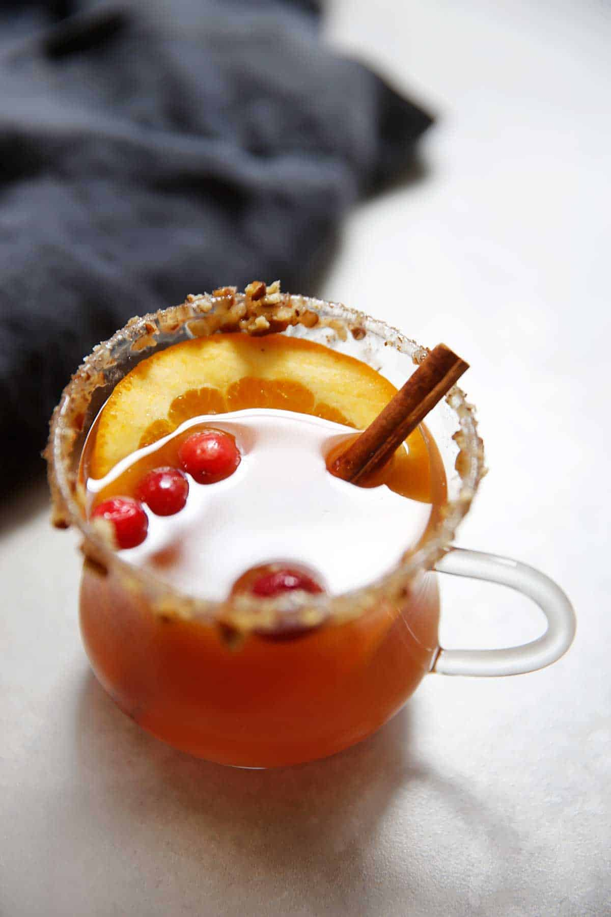 Mulled Cider with Caramel Pecan Rim | Lexi's Clean Kitchen