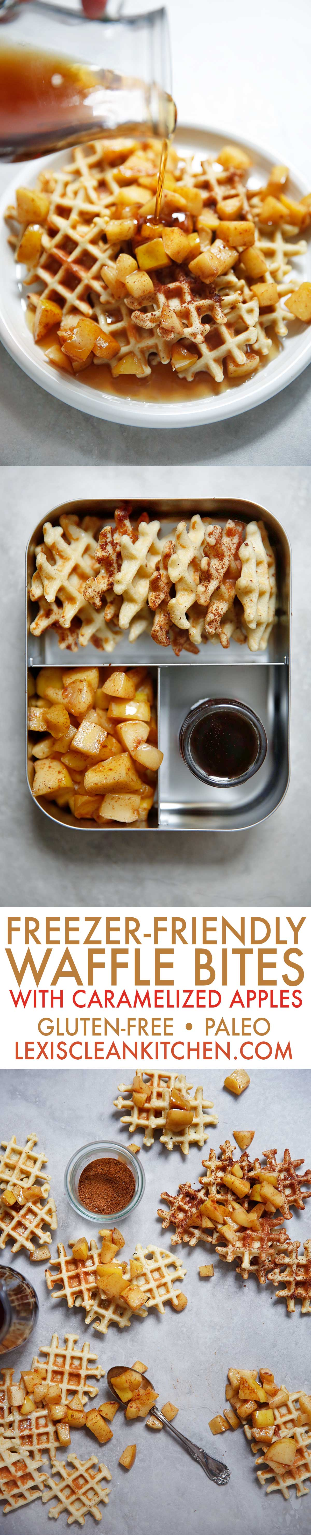 Freezer Friendly Waffle Bites Caramelized Apples [gluten-free, paleo-friendly, low-carb] | Lexi's Clean Kitchen