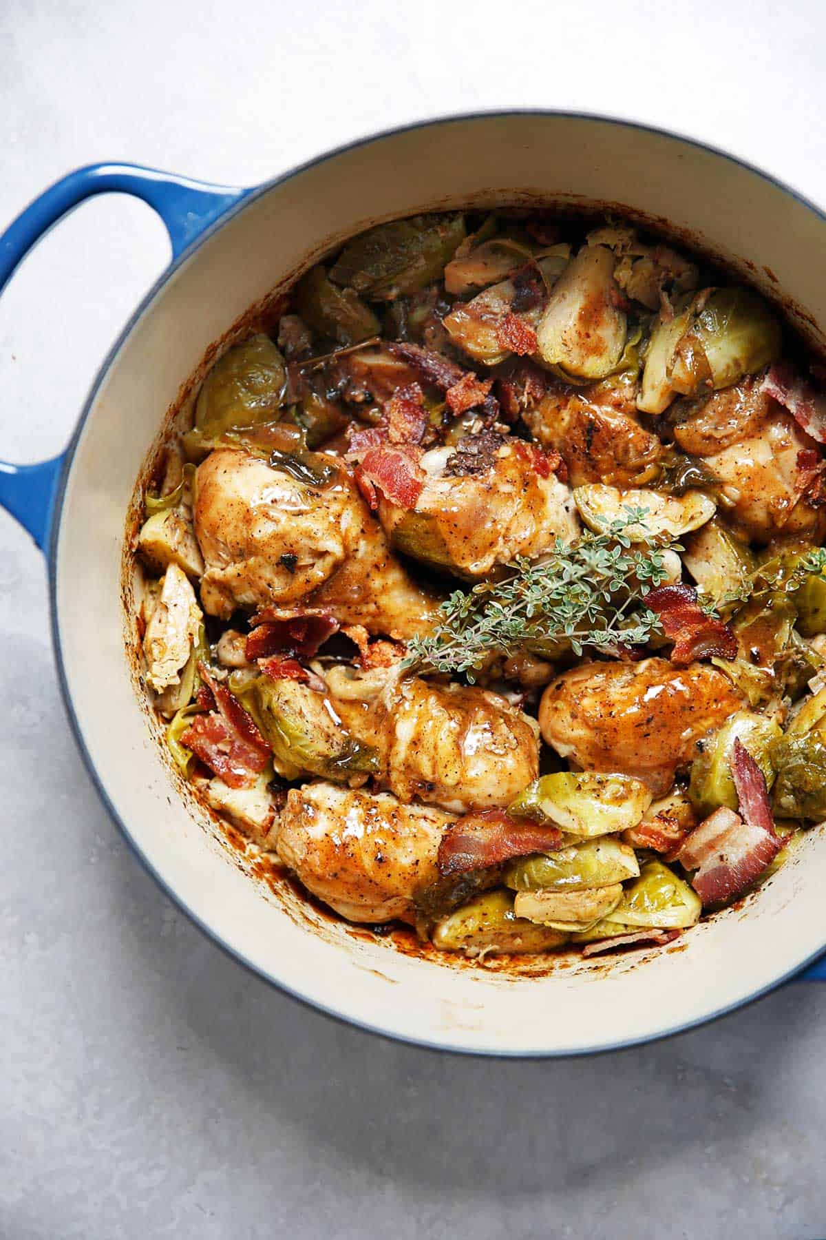 One Pot Apple Cider Braised Chicken Brussels Sprouts Bacon | Lexi's Clean Kitchen