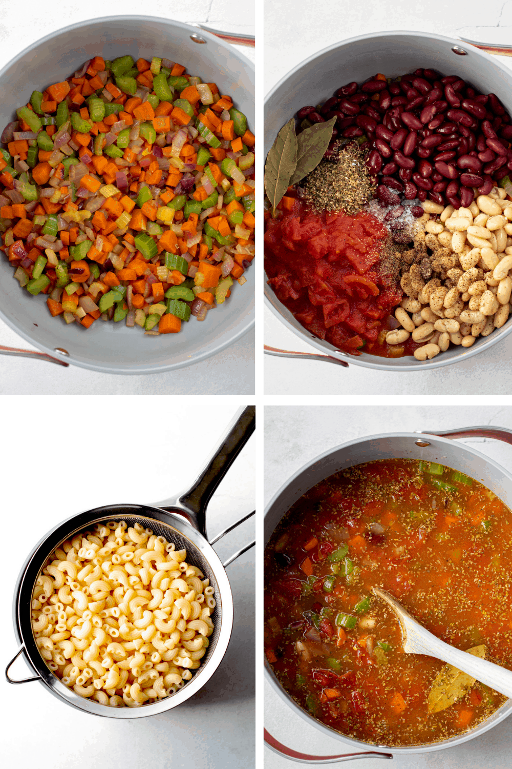 Images of the preparation of minestrone soup.