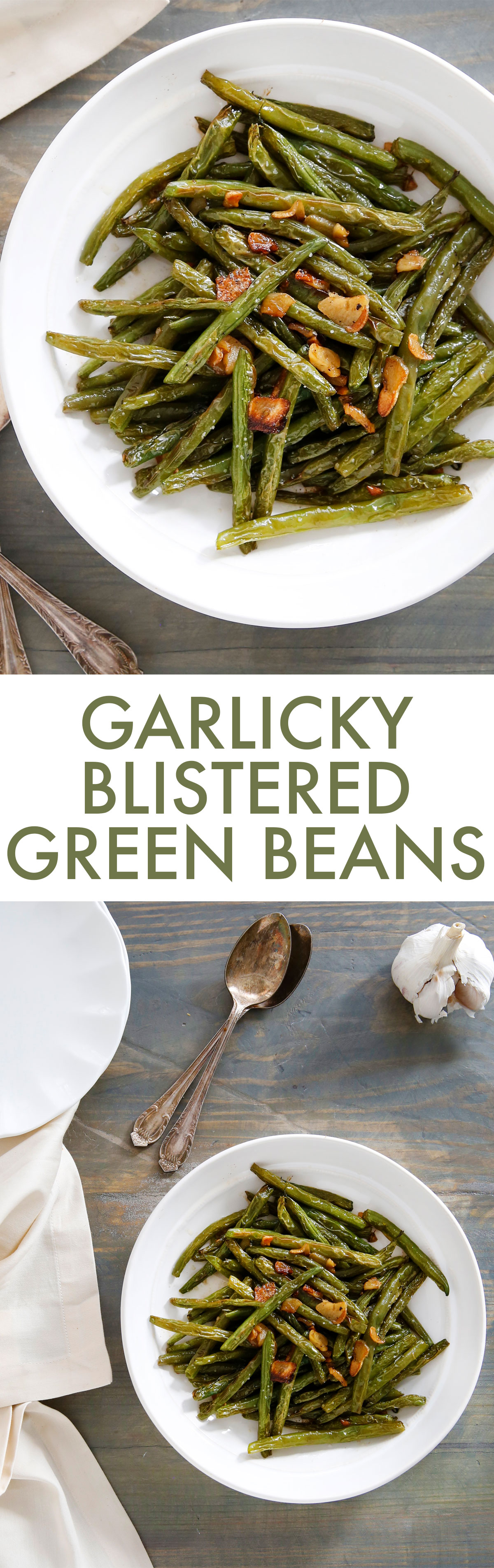 Garlicky Blistered Green Beans - Lexi's Clean Kitchen #holiday #weeknightside #whole30 #greenbeans #garlic