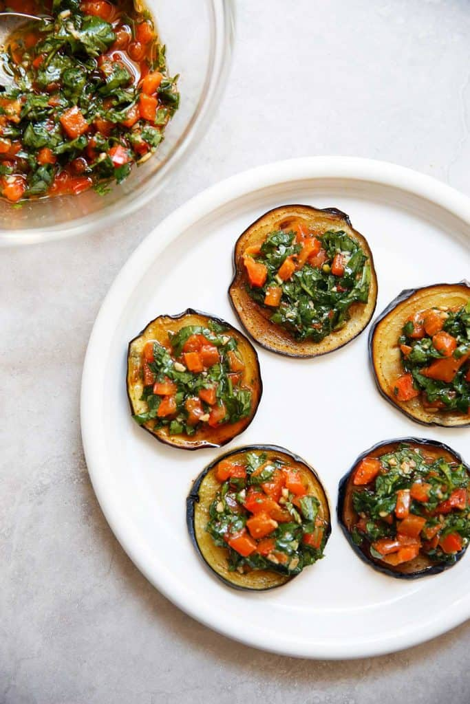 Moroccan Eggplant Sliders Topped With Chermoula Sauce