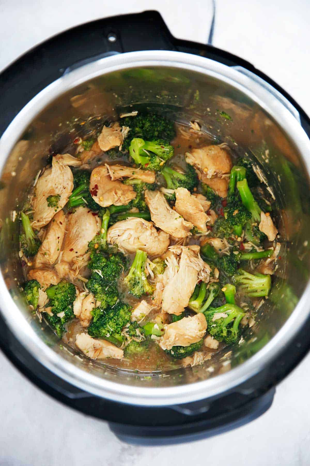 Plate of chicken and broccoli instant pot