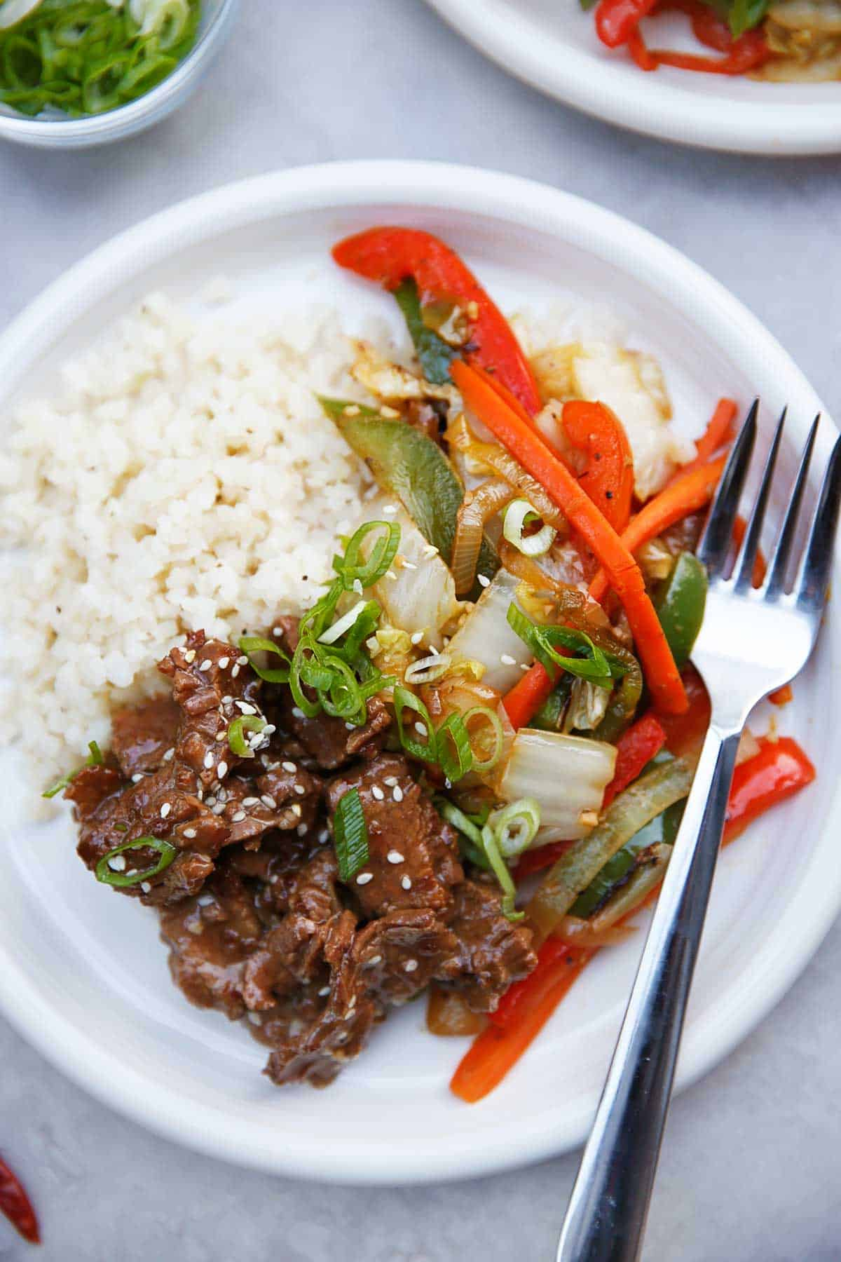 Instant pot Mongolian Beef over Cauliflower Rice