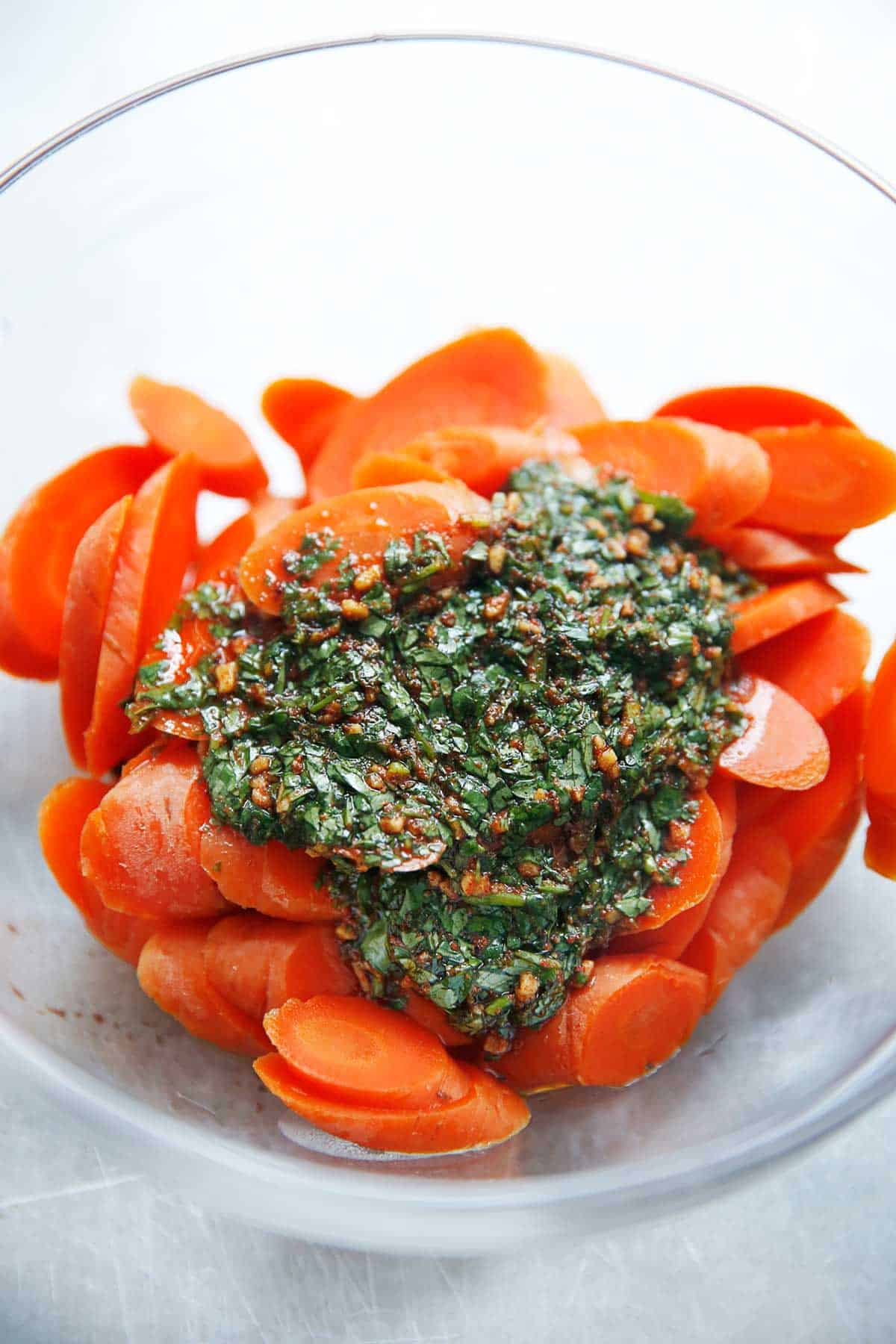 Moroccan Chermoula Sauce Over Steamed Carrots