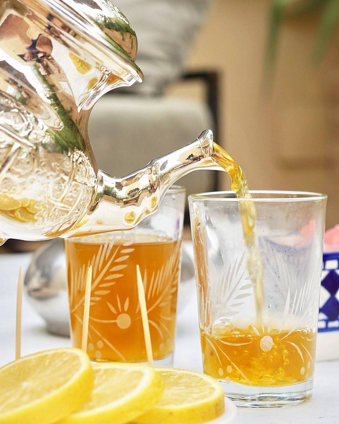 Pouring Moroccan Mint Tea at Riad Fes in Fes, Morocco