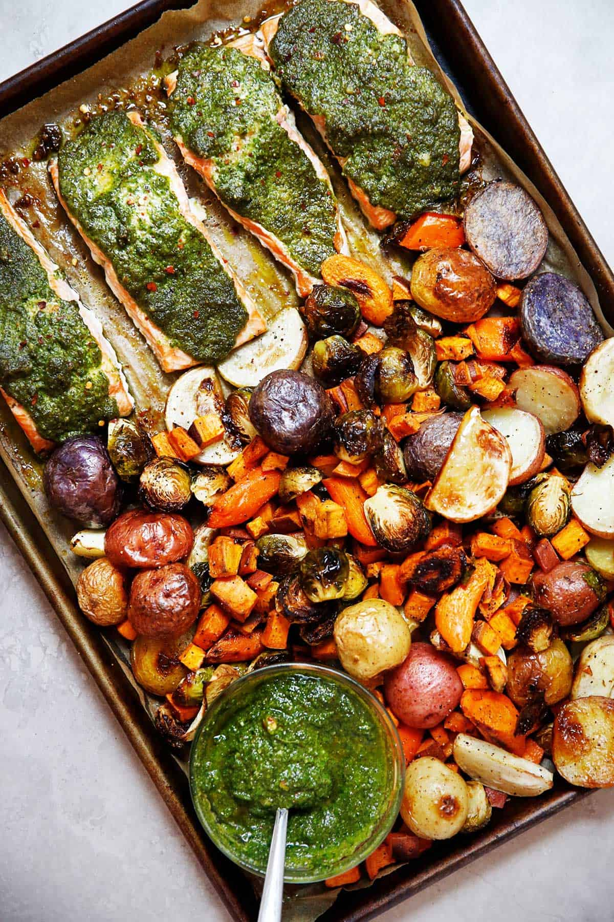 Sheet Pan Salmon with Sage Pesto and Root Vegetables