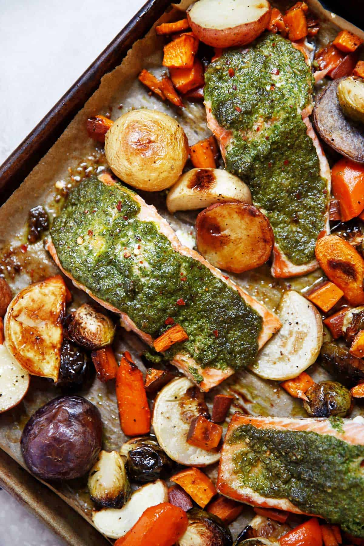 Sheet Pan Root Vegetable and Sage Pesto Salmon - Lexi's Clean Kitchen