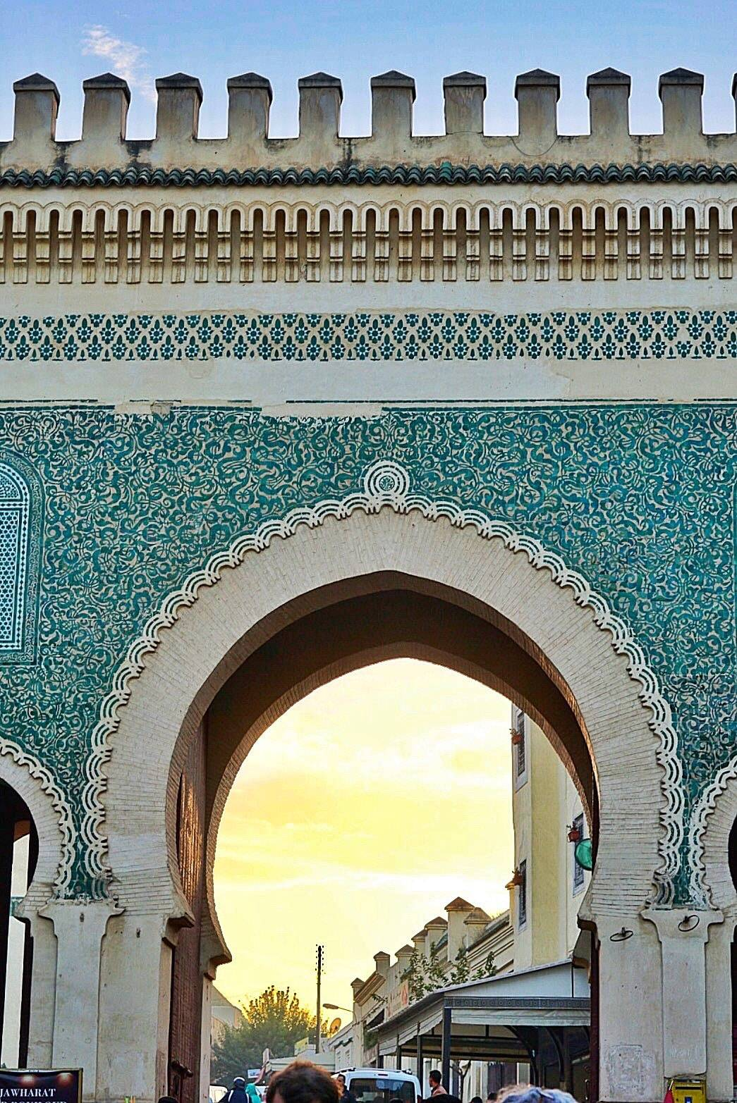 The Blue Gate of Fes at Sunset in Morocco