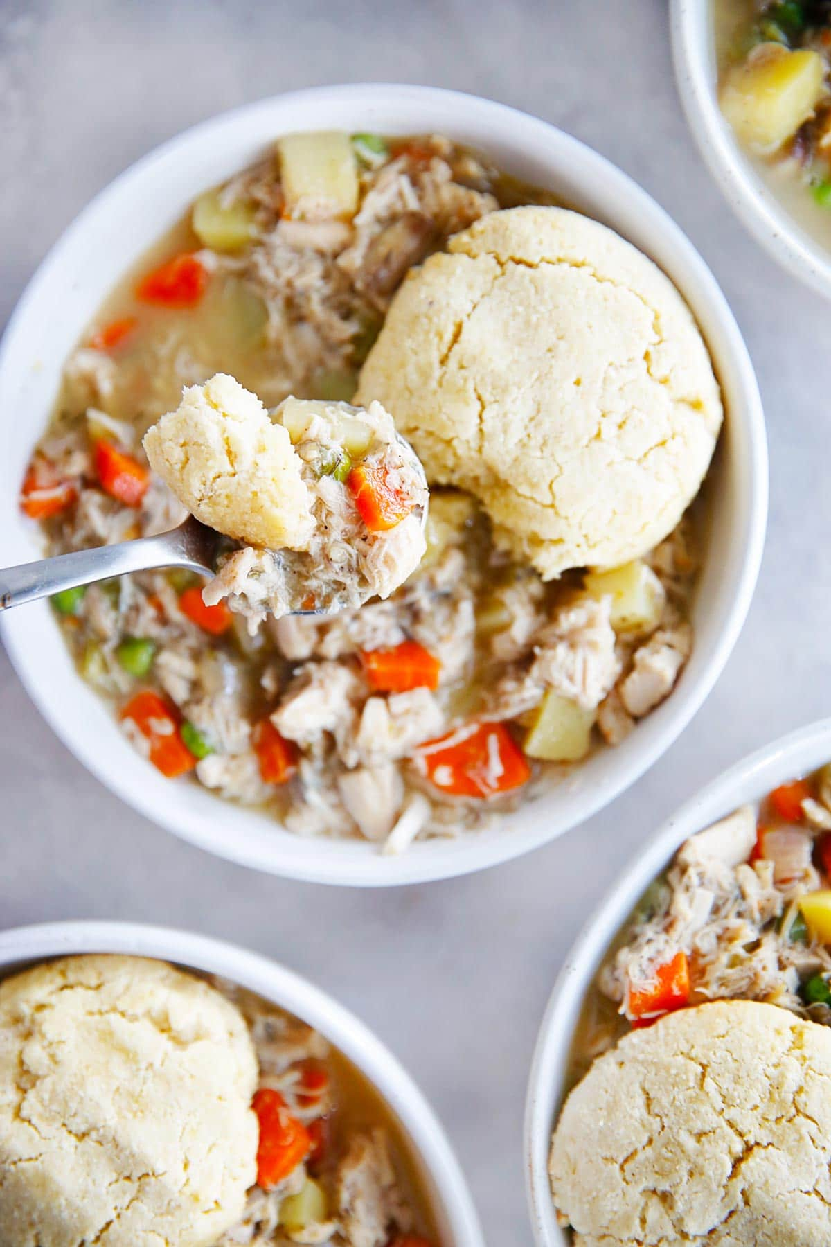 Deconstructed Chicken Pot Pie in a bowl