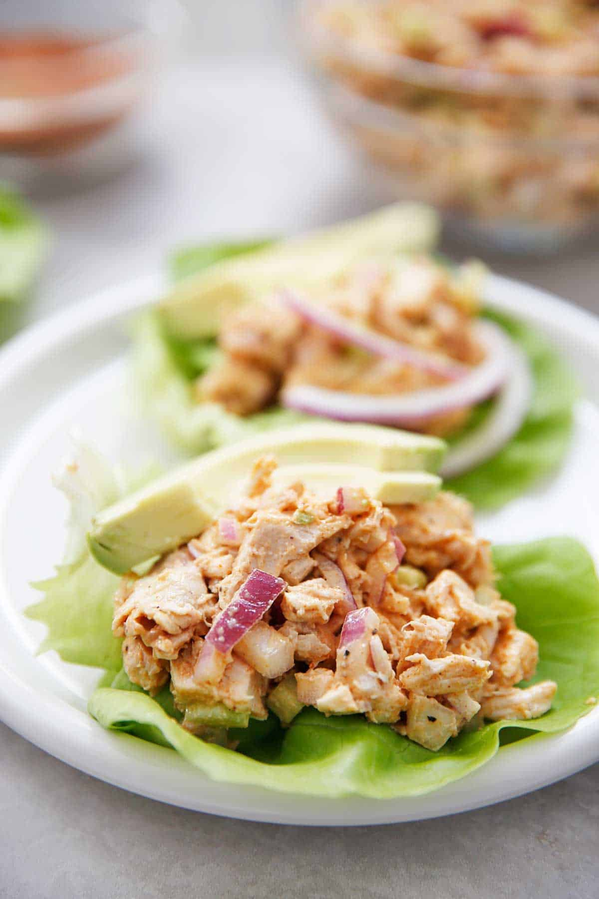 Smoky Chicken Salad lettuce wraps with avocado