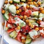 Tomato Cucumber Salad with Crispy Cumin Chickpeas & Green Yogurt Dressing