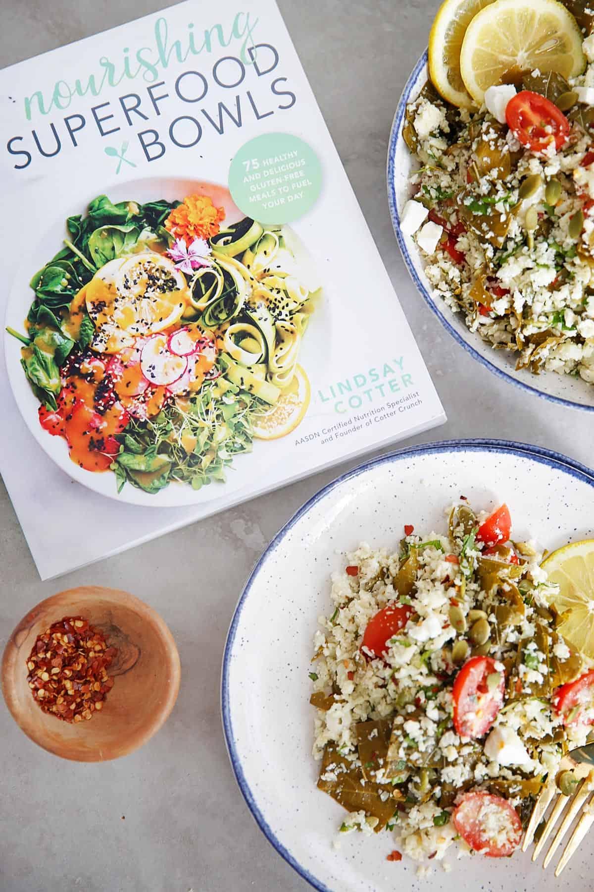Easy Greek Cauliflower Rice Pilaf Bowls
