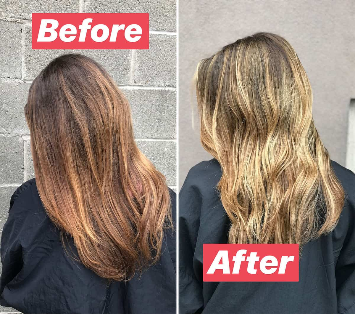 New Hair before and after blonde